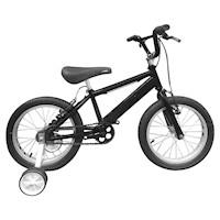 Bicicleta Infantil Niño Rin 16 Con Auxiliares - Negro Cyber