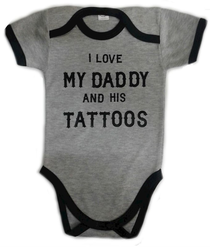 Body Love My Dad And His Tattoos Estampado Baby Monster Gris Negro ... a1cccf88e4c