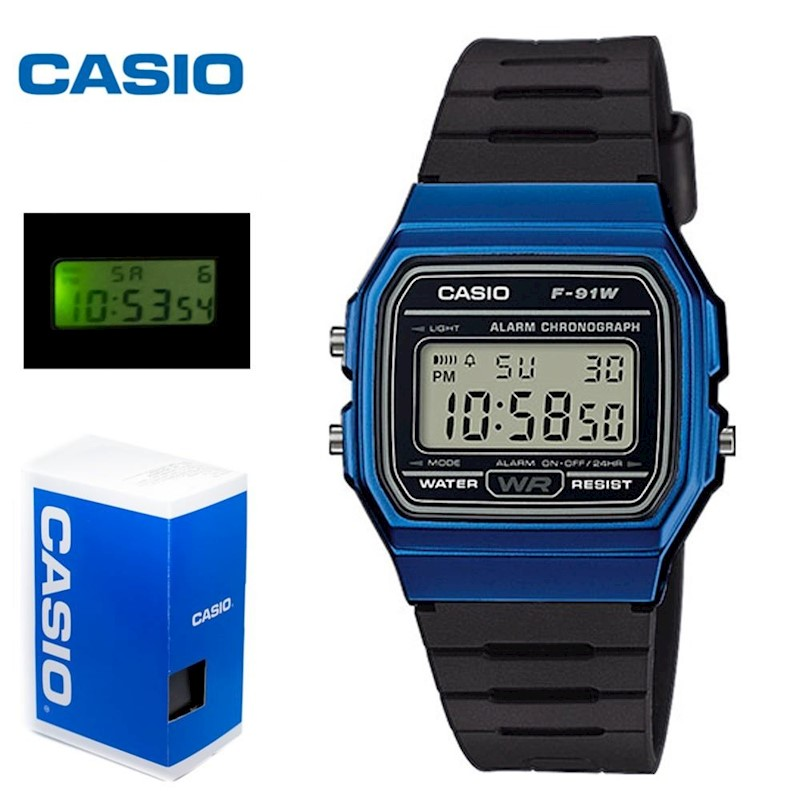 5ddd236d4022 Reloj CASIO Retro Azul F-91WM-2A Unisex