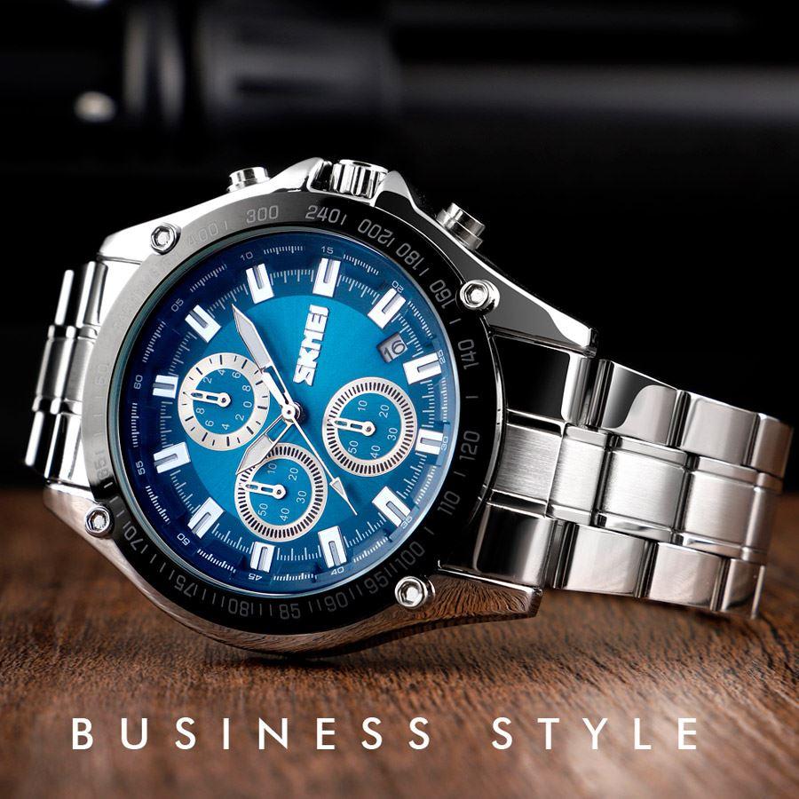 5a1a8c34d60 Reloj Skmei Ef 1393 Cronógrafo Acero inoxidable Acuático Elegante Moda  Original
