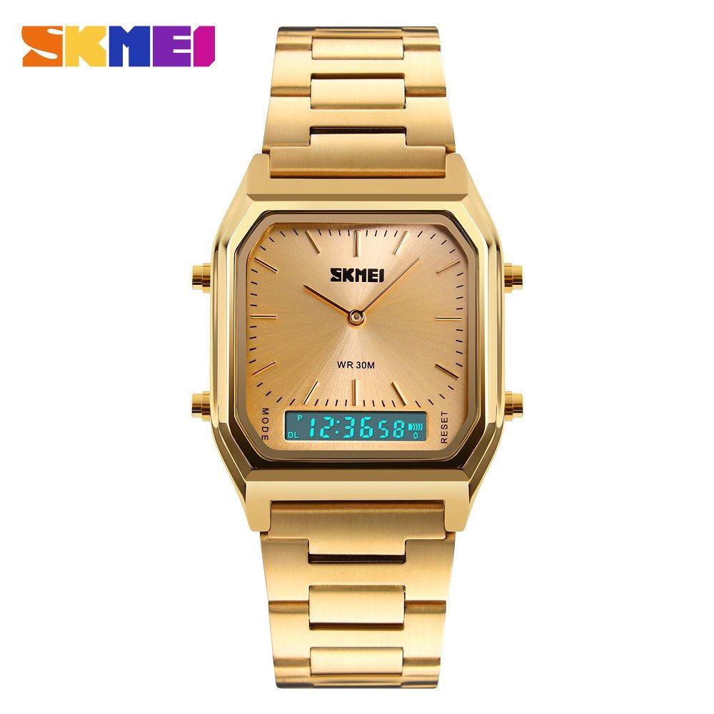 Reloj SKMEI Style 1220 Dual 3 Horarios Crono Fechador Acero - Dorado ... 563e28ae32c2