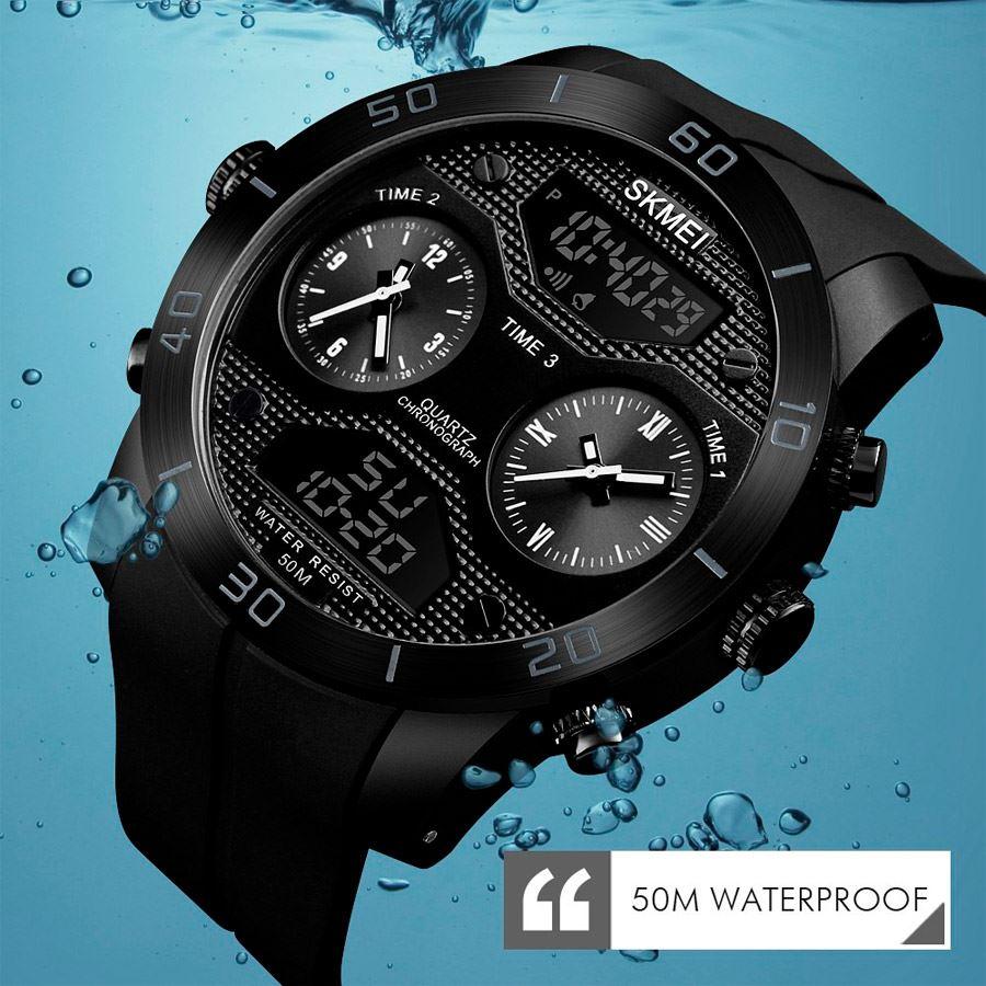efd0f8ec9ebb Reloj Skmei 1355 Doble Pantalla Digital Analógico Deportivo Acuático Moda  Negro