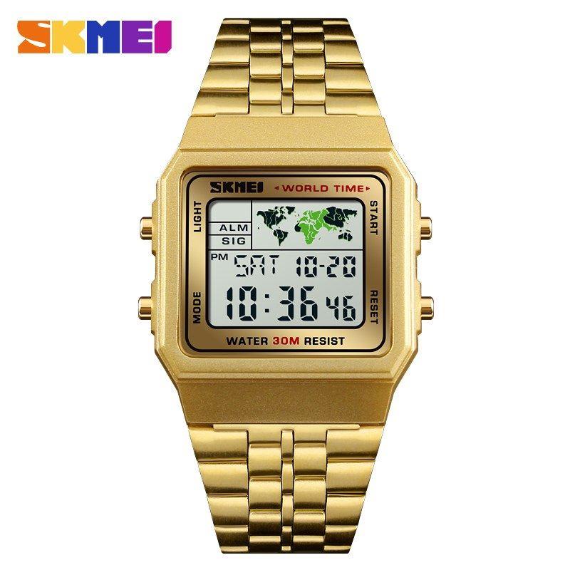Reloj SKMEI World Time 1338 Alarma Conteo Fecha Iluminación - Dorado ... d60ecdd660ac