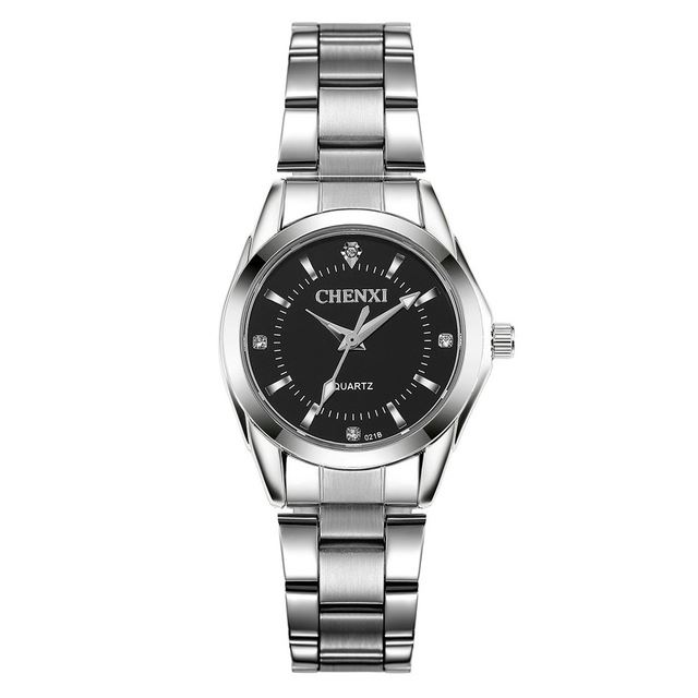 71f992517927 Reloj Analógico Cuarzo Waterproof de Acero Inoxidable para Mujer - Dial  Negro