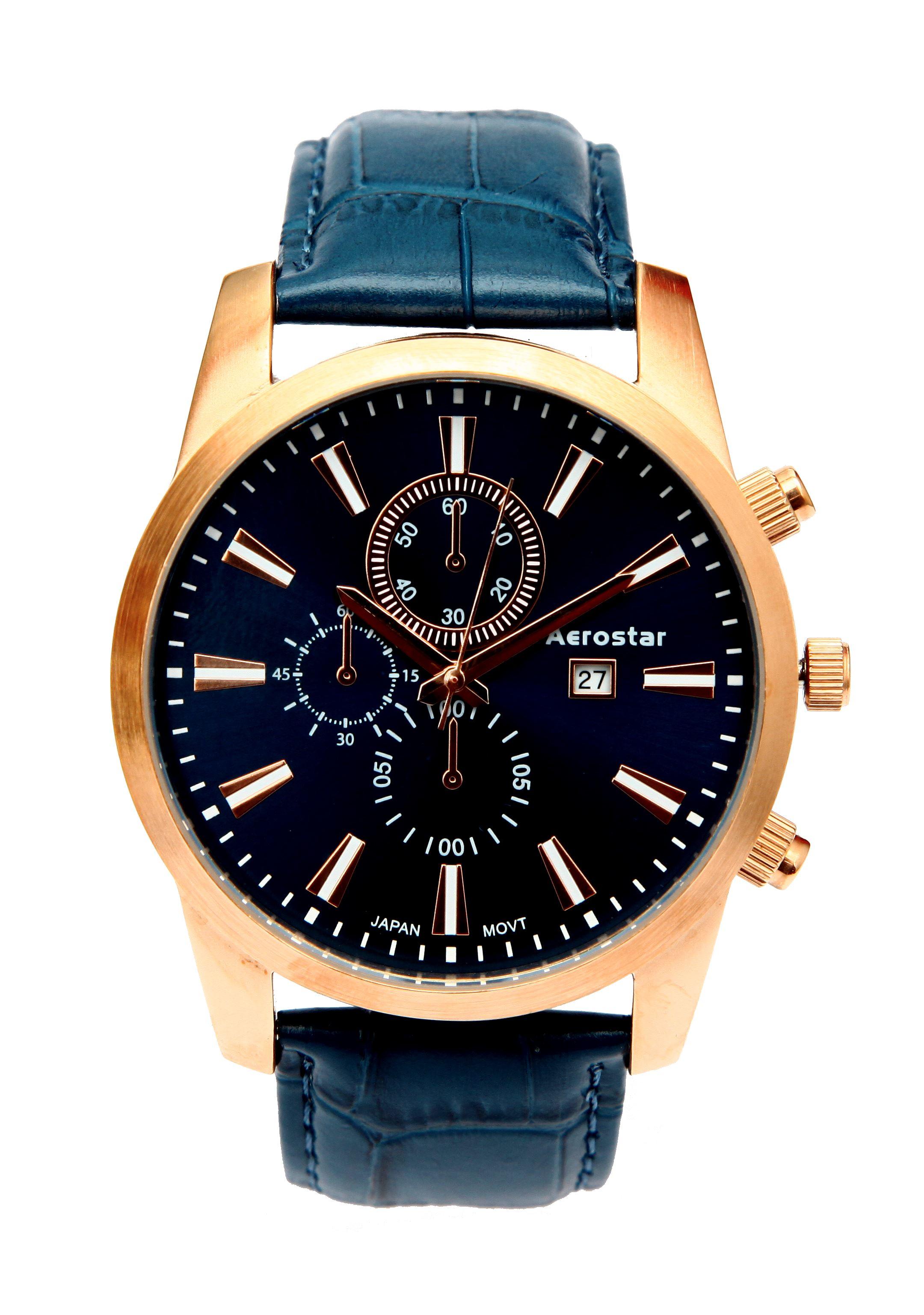 81249eb6f181 Aerostar - Reloj Caballero 26135 Azul y Oro