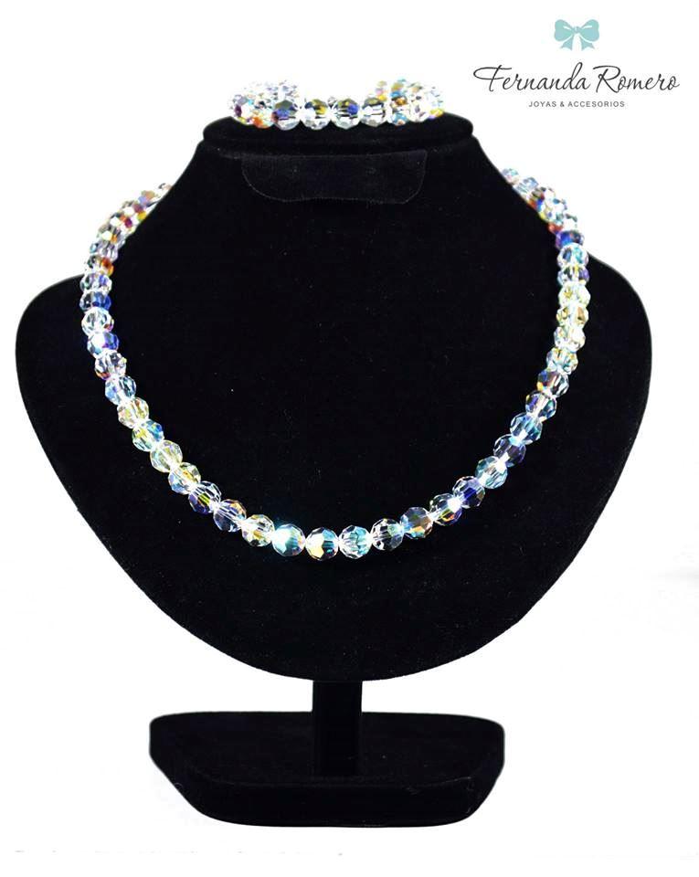 fae8bd1cd6be Juego Collar + Pulseras Esferas Aurora Boreal Cristal Swarovski Plata 950