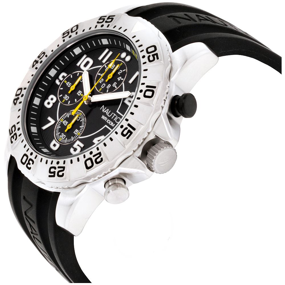 Reloj Nautica NSR 104 Cronometro Acero Inoxidable Correa De Silicona  NAD16510G  86c3b0788f8d