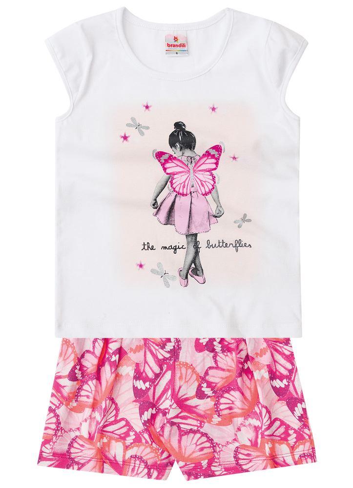 Brandili - Conjunto Niña (Blusa diseño Niña Mariposa y short) de 2 ...