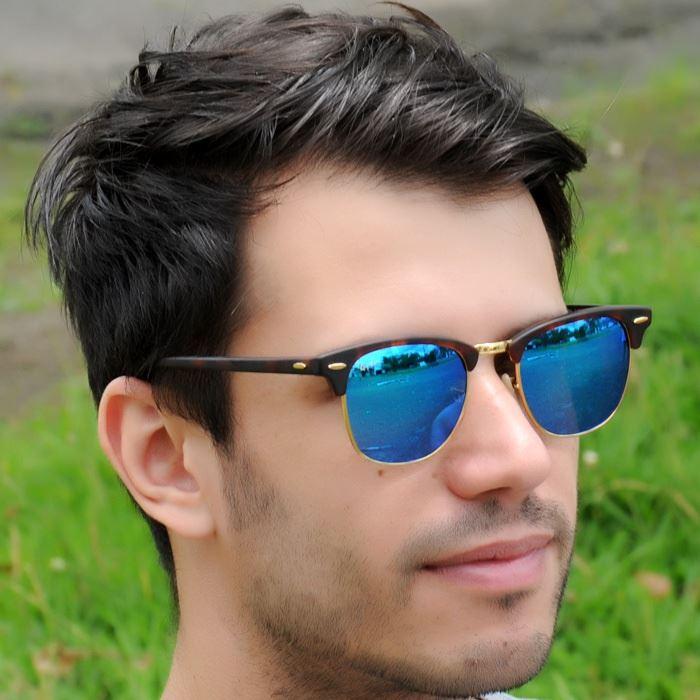 Lentes De Sol Ray Ban Clubmaster RB3016 1145 17 Blue Mirror   Juntoz.com 028866a34a49