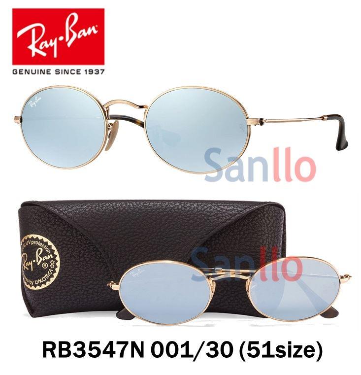 3857e9725eee1 Lentes De Sol Ray Ban Oval Flat RB3547N 001 30 Gris Espejado Redondo Talla  51mm   Juntoz.com