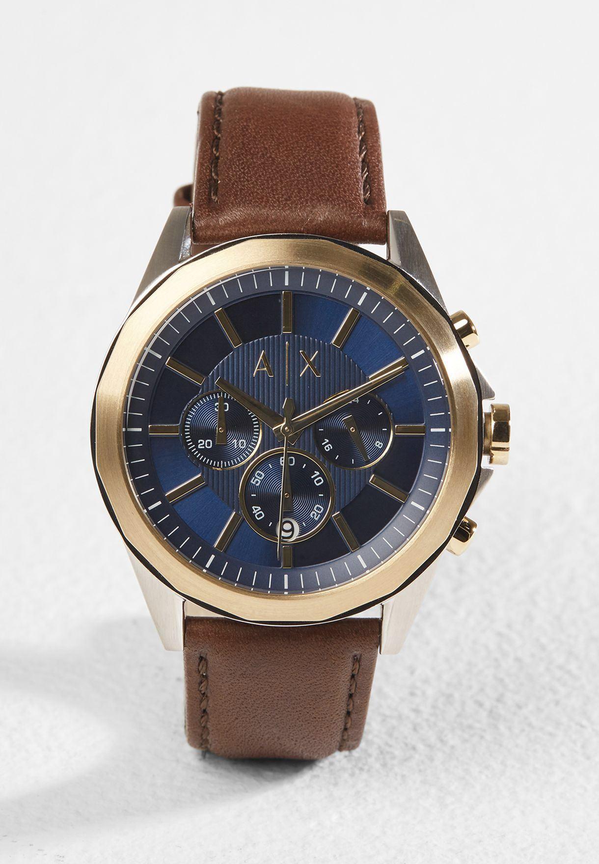 43353aedf50f Reloj Armani Exchange Drexler AX2612 Acero Inoxidable Correa De Cuero -  Marrón