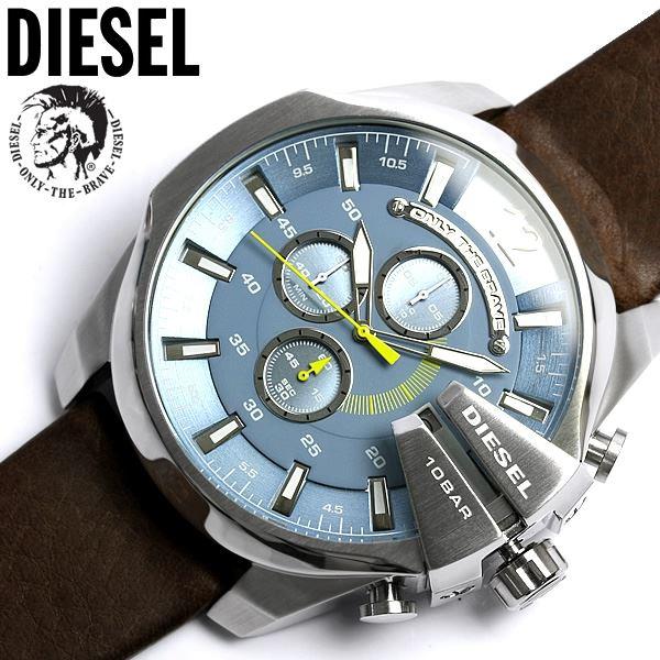 998a04489bd1 Reloj Diesel Mega Chief DZ4281 Cronometro Acero Inoxidable Correa De Cuero