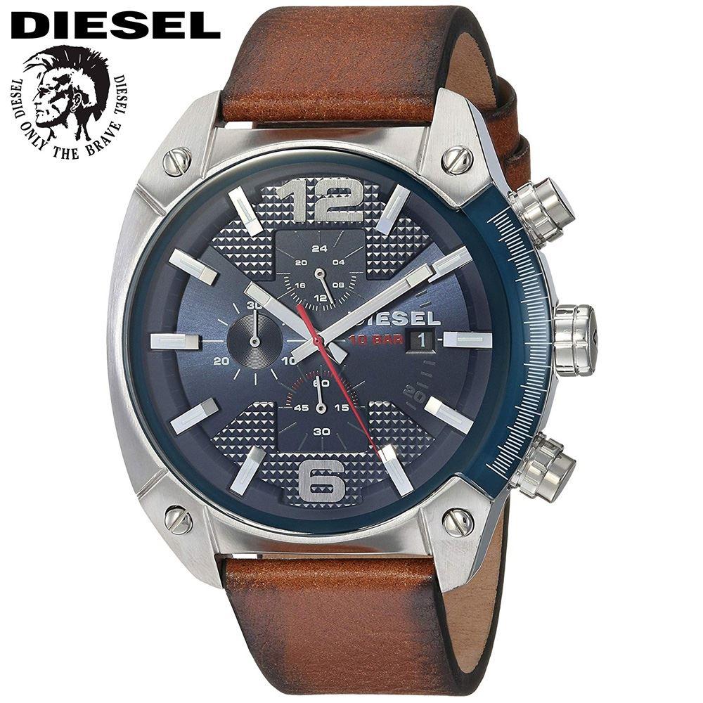 c44e2949ba9b Reloj Diesel Overflow DZ4400 Cronometro Acero Inox Correa De Cuero - Marrón