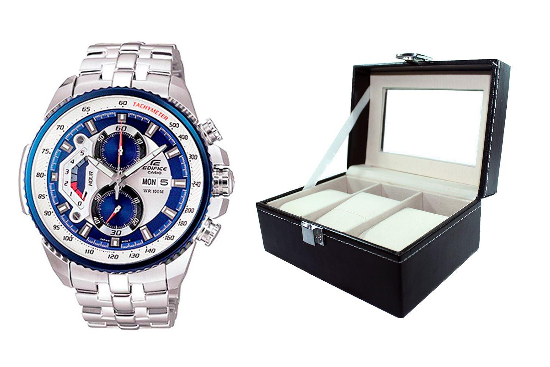 81527ebe47d1 Reloj Casio Edifice EF-558D-2AVDF Correa De Acero Inoxidable Para Hombre +  caja