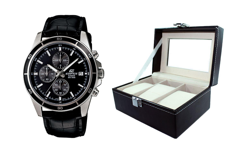 58dc438fd42f Reloj Casio Edifice EFR-526L-1AVDF Correa De Cuero Genuino Para Hombre +  caja