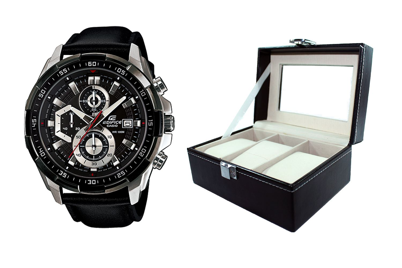 2f89e8ec668e Reloj Casio Edifice EFR-539L-1AVDF Correa De Cuero Genuino Para Hombre +  caja