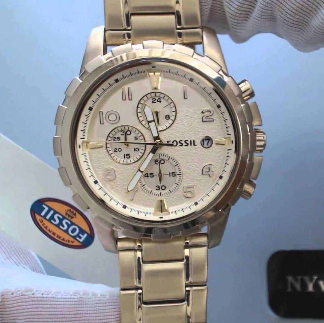 f4ea0a59f10a Reloj Fossil Dean FS4867 Cronometro Acero Inoxidable Fecha - Dorado ...