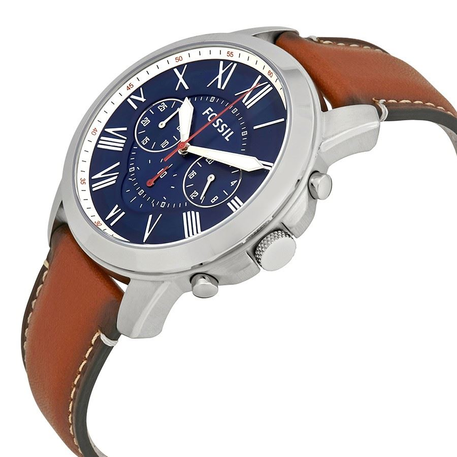 fb0de3a0d8b4 Reloj Fossil Grant FS5210 Cronometro Correa De Cuero - Marrón Azul ...