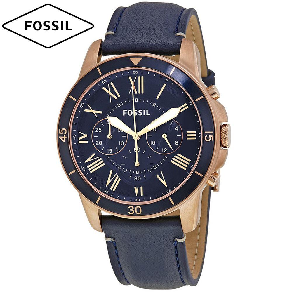 fbbc0c4aaa4d Reloj Fossil Grant FS5237 Cronometro Correa De Cuero Dorado