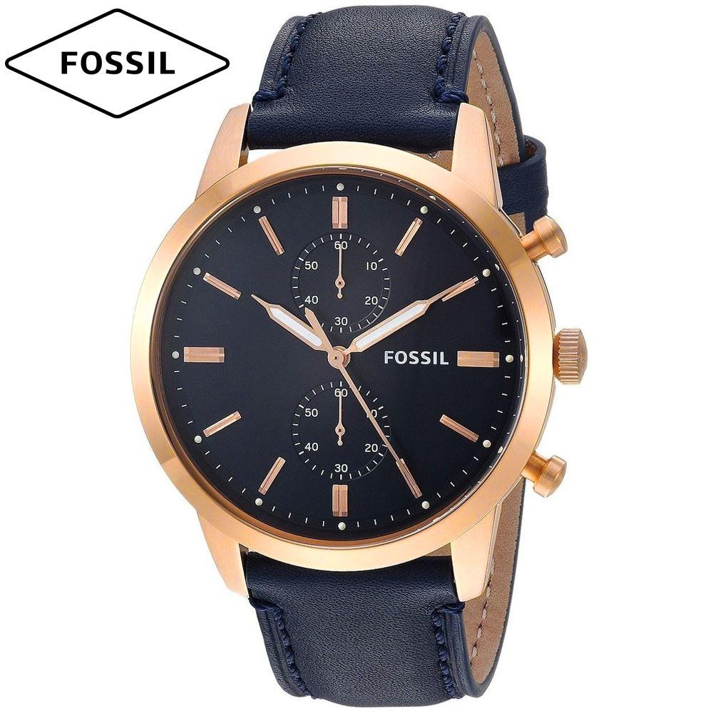 a113d8b9710a Reloj Fossil Townsman FS5436 Cronometro Correa De Cuero - Dorado Azul