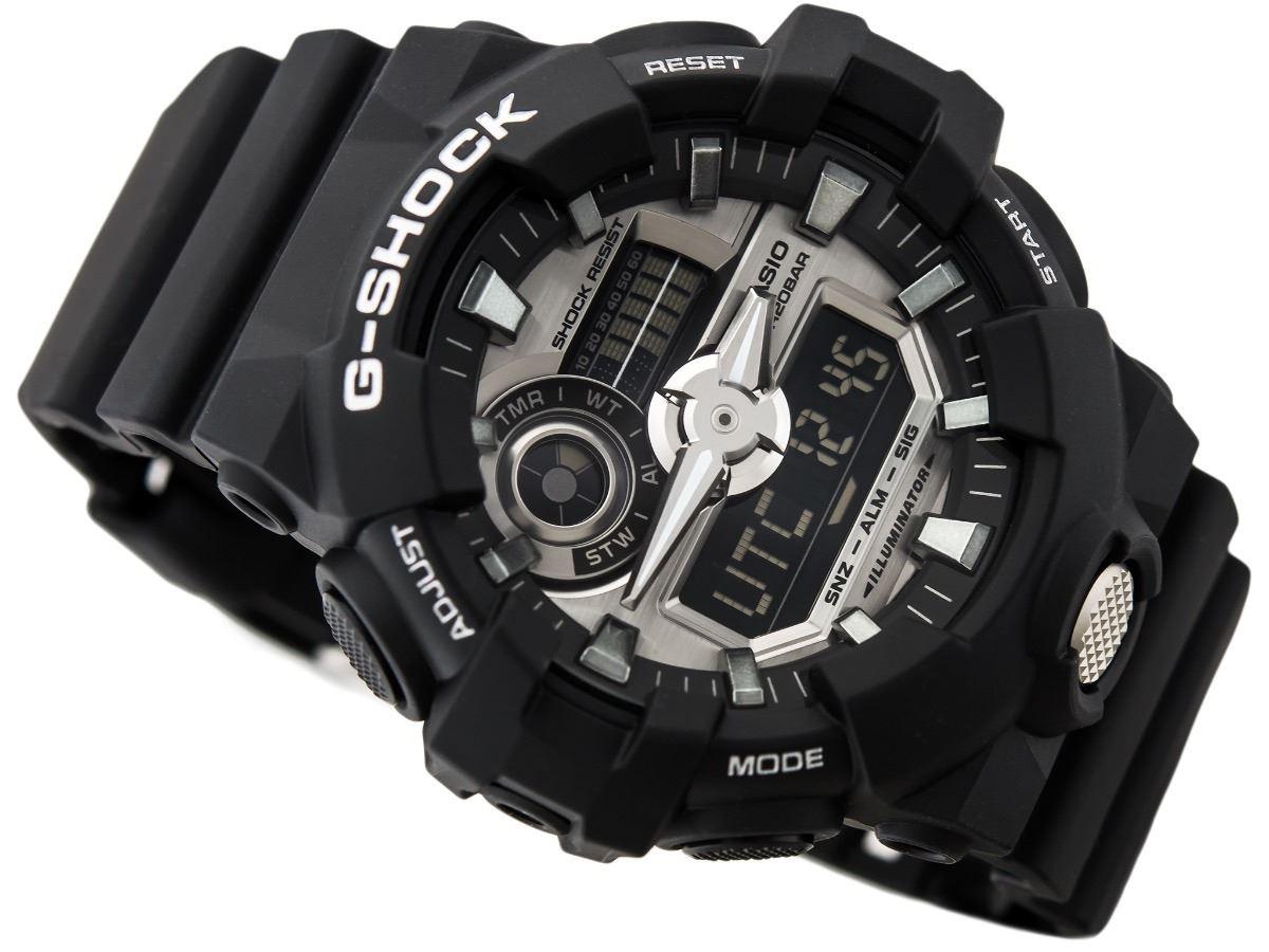 0829646041e1 Reloj Casio G-Shock GA710-1A Digital Analógico Luz LED Acuático - Negro  Plateado