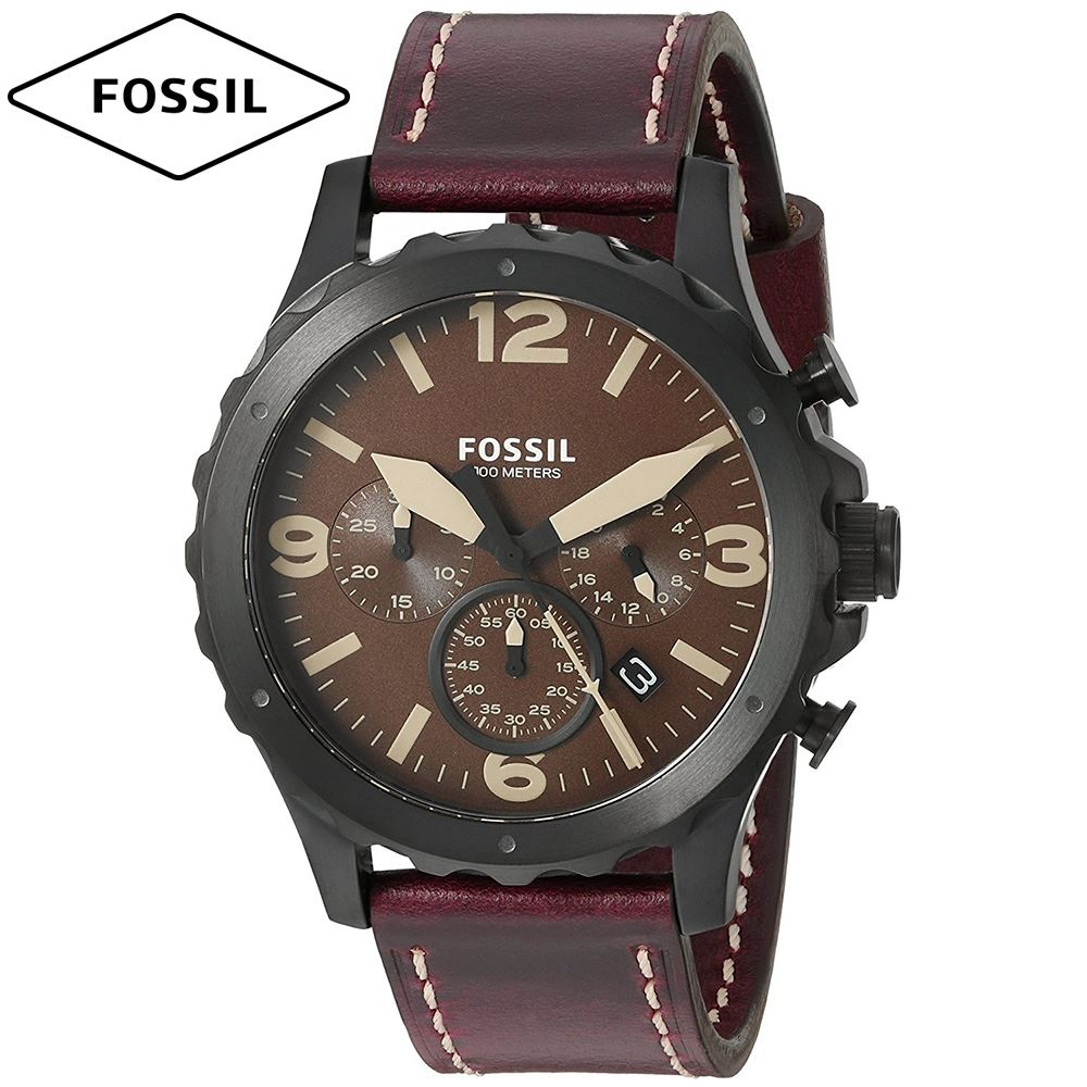 f12aa711a253 Reloj Fossil Nate JR1502 Cronometro Acero Inoxidable Correa De Cuero -  Marron