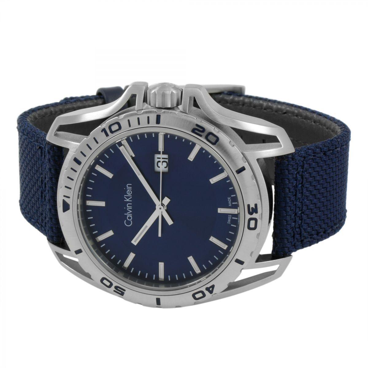 Reloj Calvin Klein Earth K5Y31UVN Suizo Acero Inox Correa De Nailon ... a9af5d5d2e9e