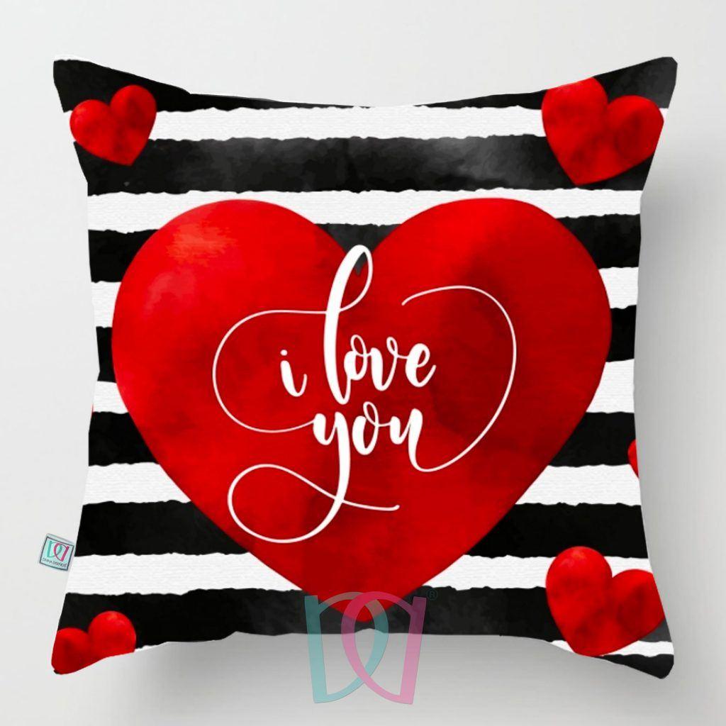 Cojín decorativo Corazón y Rayas