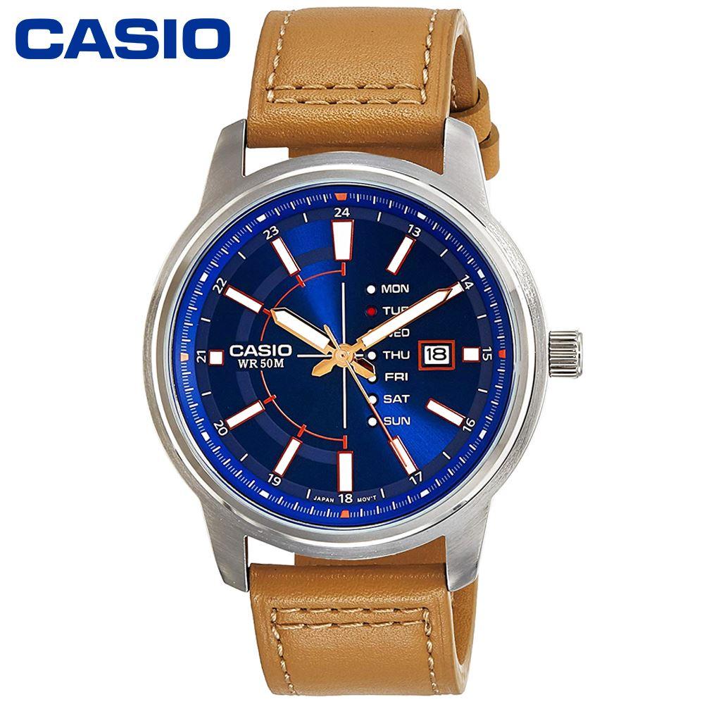 486eb899ff14 Reloj Casio MTPE128L-2A2V Acero Inoxidable Correa De Cuero - Marrón Azul