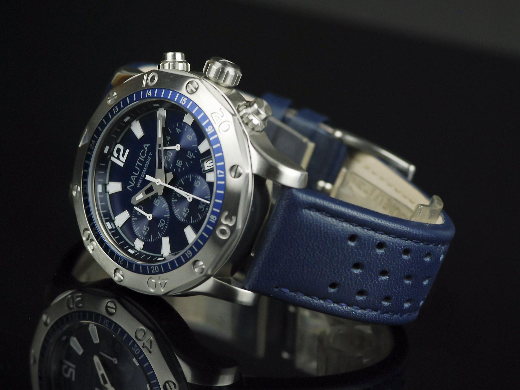 b90e8a5d5db1 Reloj Nautica NST 21 Acero Inoxidable Correa De Cuero NAD16547G ...