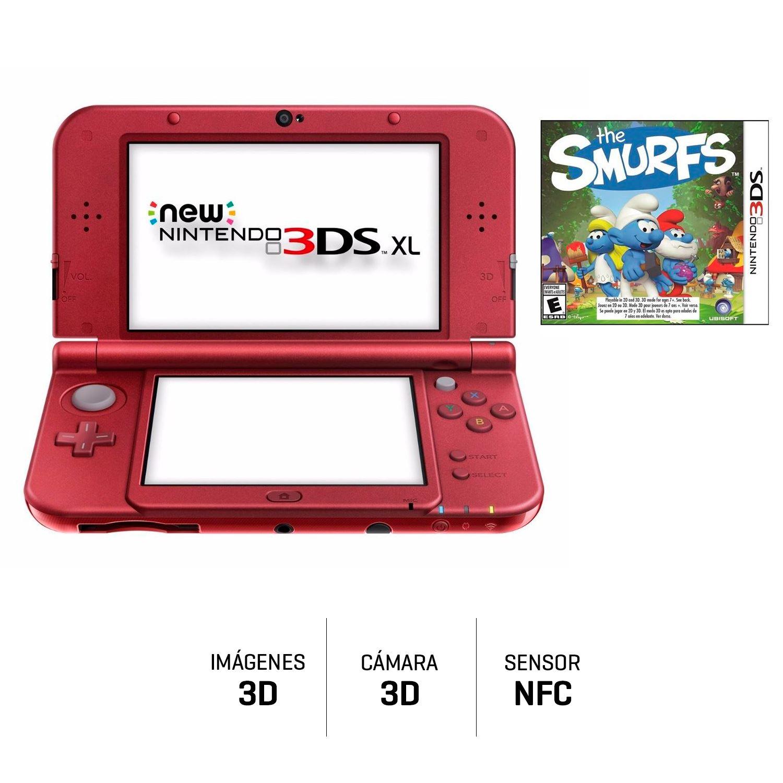 Consola Nintendo 3ds Xl Rojo Juego Los Pitufos Juntoz Com