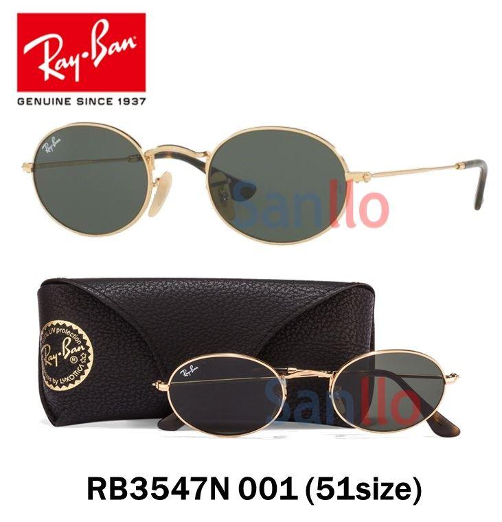 48ba4cbfe51 Lentes De Sol Ray Ban Oval Flat RB3547N 001 Redondo Talla 51mm ...