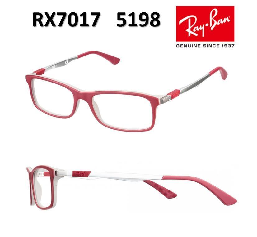 4314697de54ed Lentes De Medida Oftálmico Montura Ray Ban RX7017 5198 Red Rojo 54mm    Juntoz.com