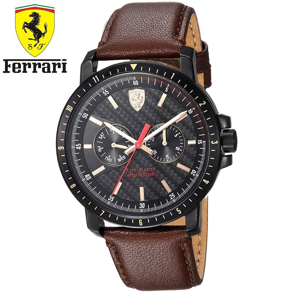 e09ea2d8b472 Reloj Ferrari Turbo 0830452 Acero Inox Correa de Cuero - Marrón negro