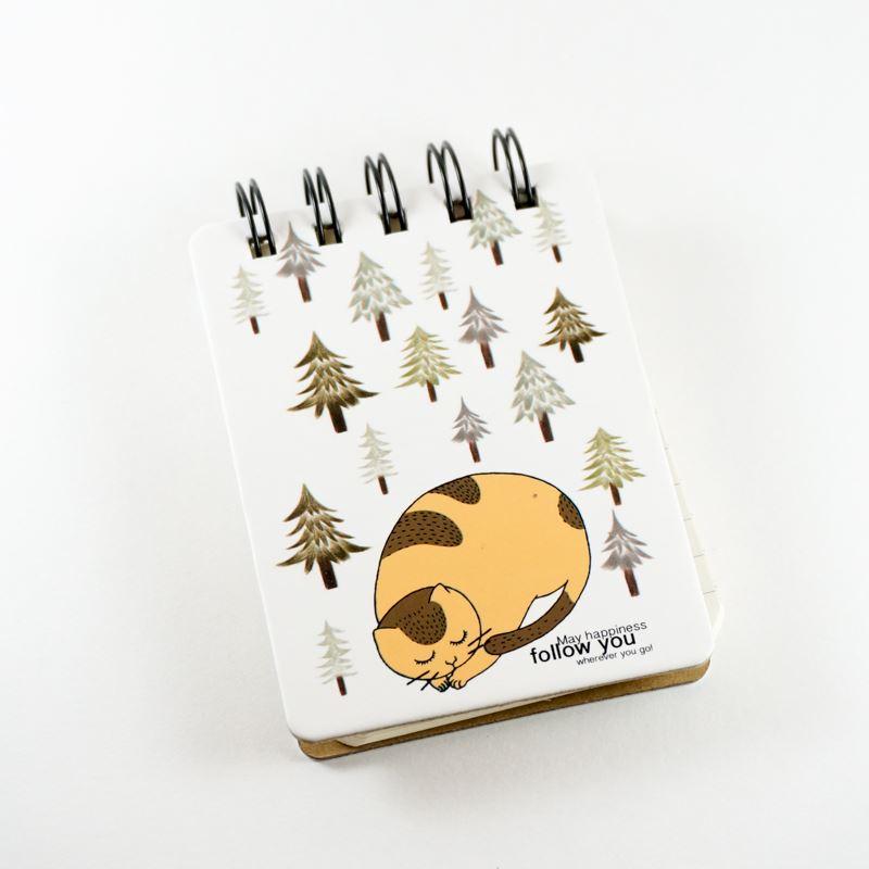 Bloc de notas anillado print gatito durmiendo   Juntoz.com