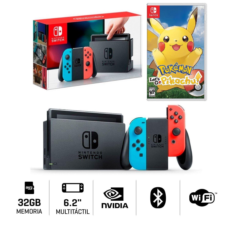 Consola Nintendo Switch Juego Pokemon Let S Go Pikachu Juntoz Com