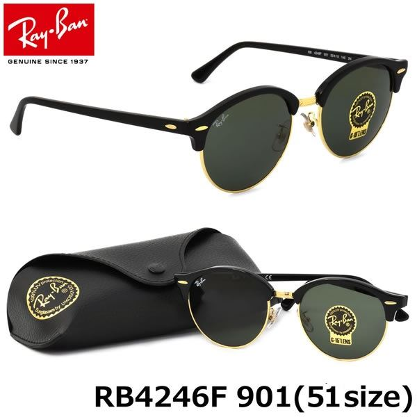 3f468714e8 Lentes de Sol Ray Ban ClubRound Clásico Black RB4246 901 51mm ...
